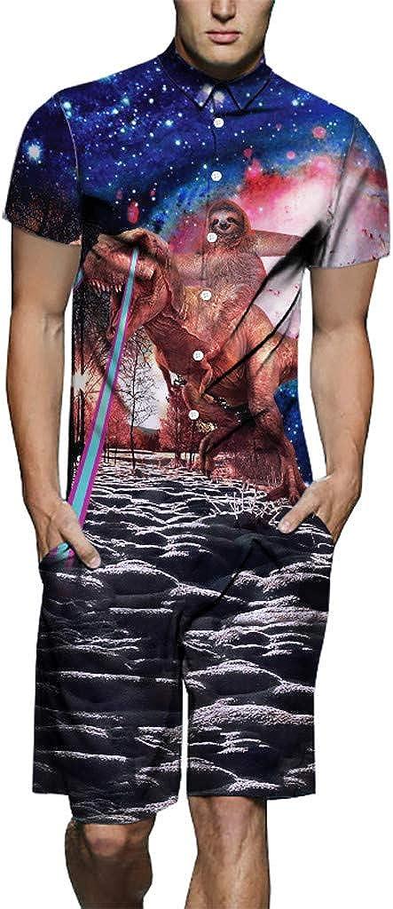 Sumen Men Summer 3D Printed Short Sleeve Shirt Tropical Hawaiian Jumpsuit