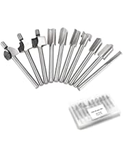 """Bestgle HSS Router Bits 1/8"""" 3mm Shank Wood Engraving Milling Trimming Cutter Bits Fit Dremel Foredom Rotary Tool Set Pack of 10"""