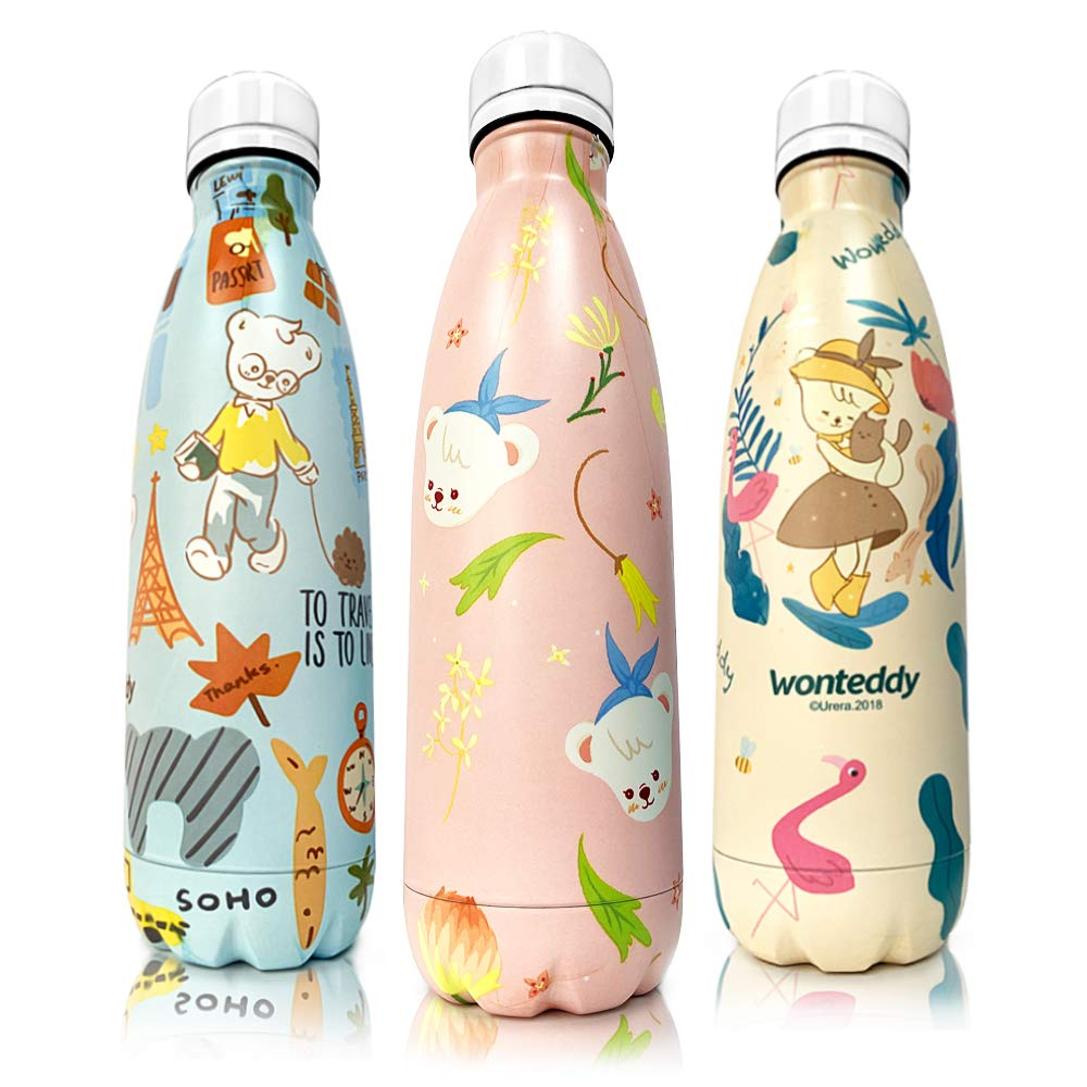 Stainless Steel Vacuum Insulated Water Bottle for Sport Travel 17oz BPA Free Cute Double Walled Leak-Proof Cola Bottle Cold for 12 Hours /& Hot for 24 Hours CHARMLINE