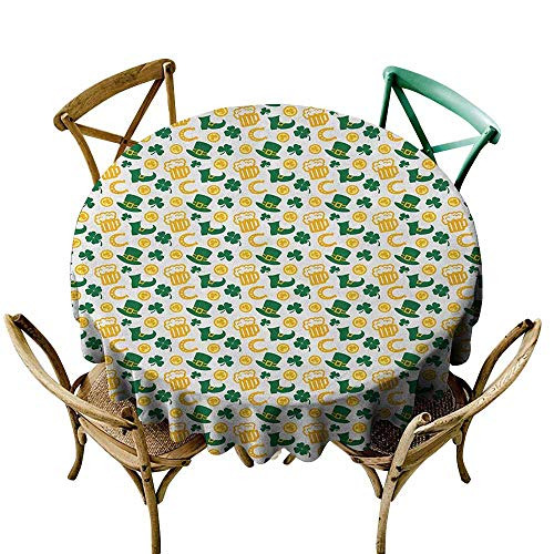 Waterproof Tablecloth Rectangle Irish,Happy St. Patricks Day Concept Pattern with Traditional Holiday Symbols, Green Yellow White D50,Round Polyester Fabric Tablecloth