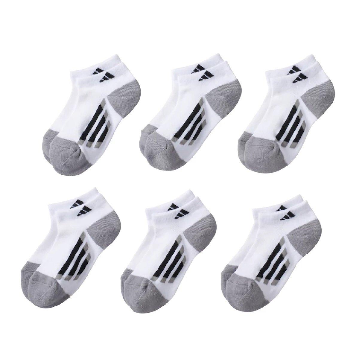 MEDIUM 13-4Y adidas Boys 6-Pack ClimaLite Low-Cut Socks