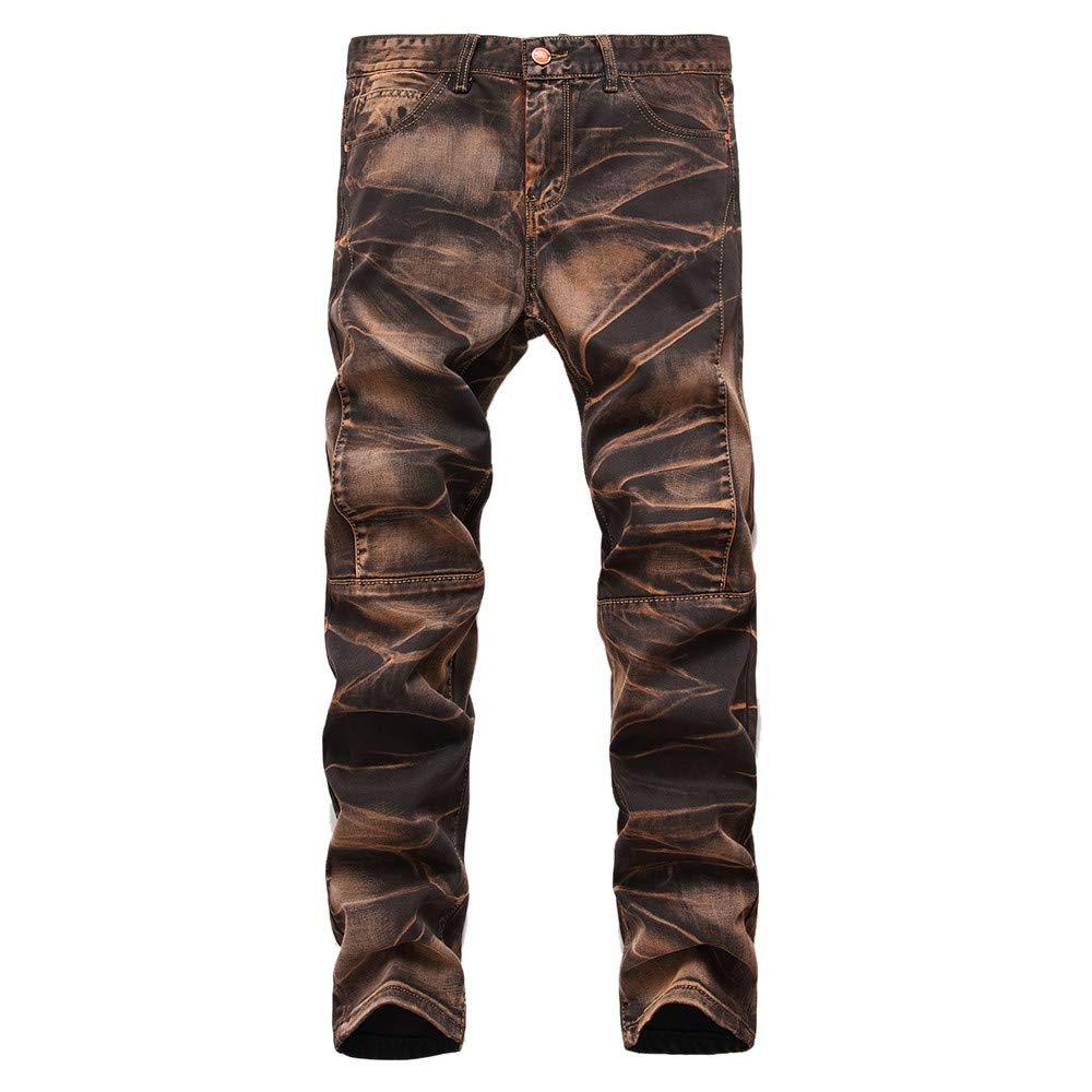 Ximandi Mens Vintage Jeans Denim Wash Work Jeans Trousers Casual Zipper Basic Pants
