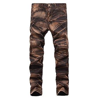 Geili Jeans Hose Herren Lang Jeanshosen Vintage Used Look Wasserwäsche Denim Hosen Männer Übergröße Slim Fit Straight Jeans B