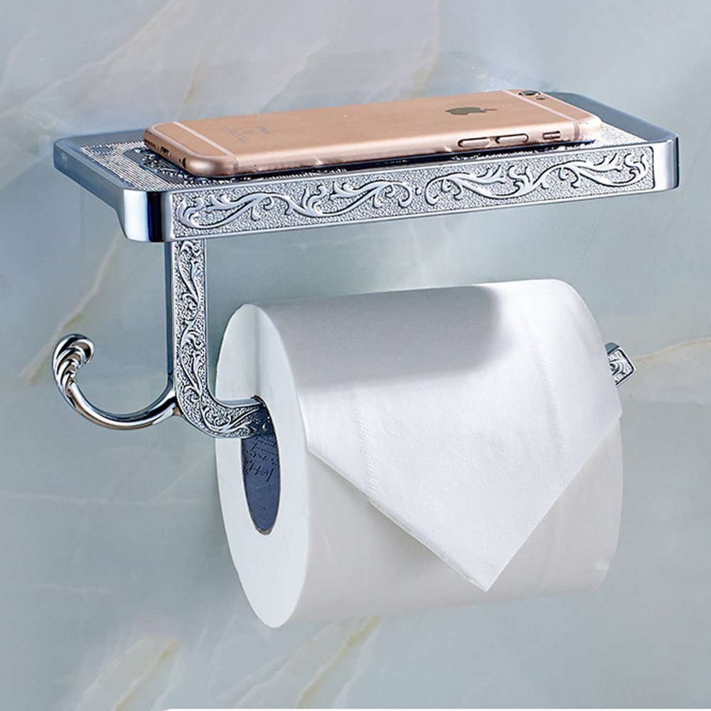 chic Clavi Chrome Toilet Paper Roll Holder with Shelf Wall Mounted ...