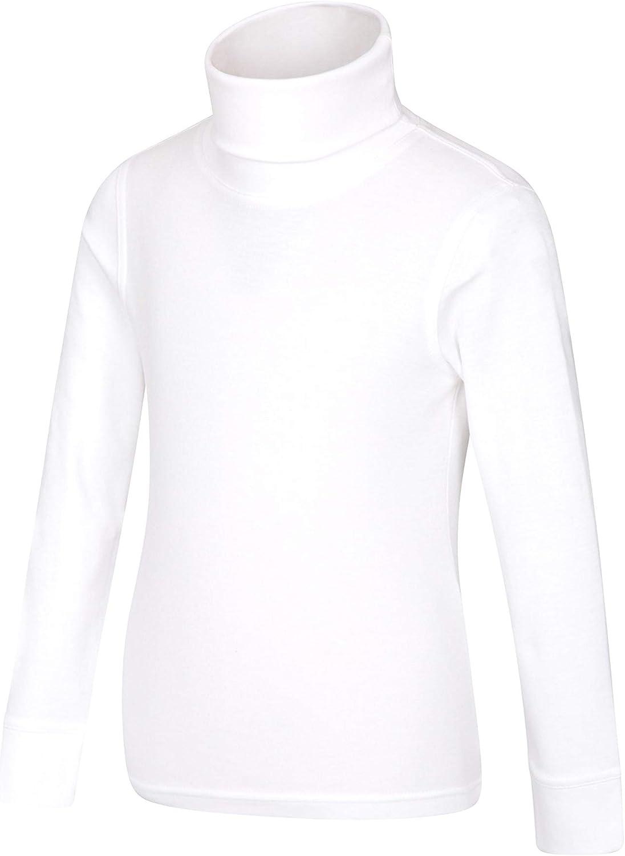 Mountain Warehouse Camiseta de algodón con Cuello Vuelto Meribel para niños