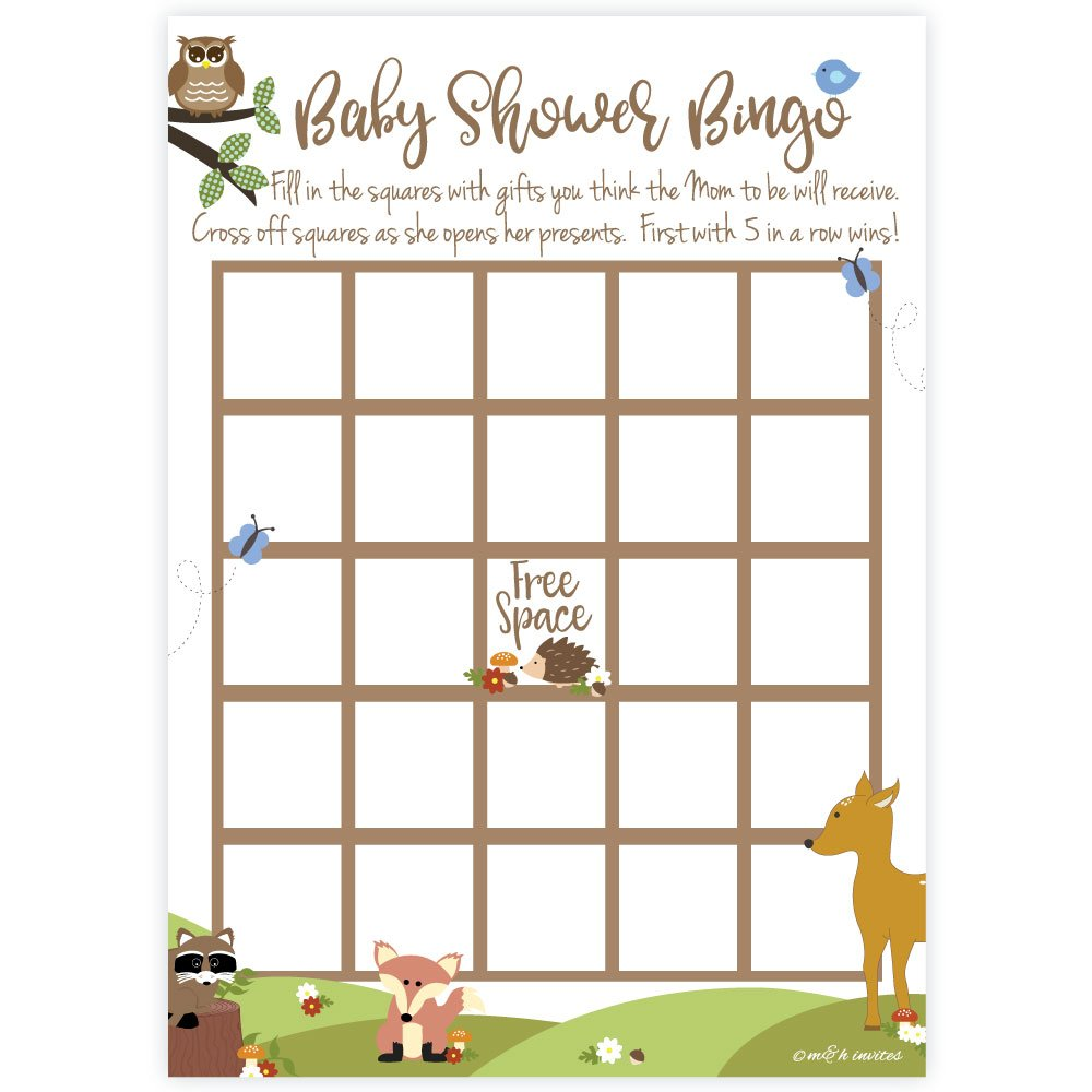 Woodland Animals Baby Shower Bingo Game Cards (50 Count) by m&h invites