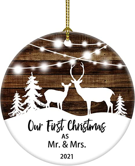 Our First Christmas Ceramic Deer First Christmas Married Wedding Gift First Christmas Together Bridal Shower Gift Mr and Mrs