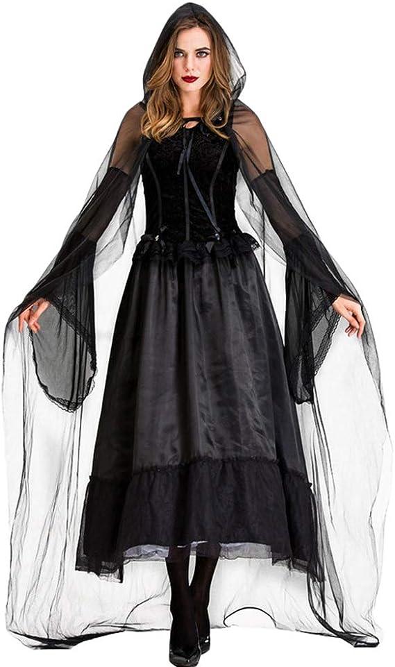 YOUJIAA Disfraz de Bruja de Terror para Mujer Vestido Largo de ...