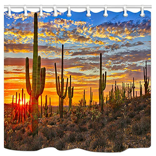JAWO Saguaro Cactus Bathroom Shower Curtain, Sunset in Sonoran Desert Near Phoenix Fabric Bath Curtain Waterproof Bathroom Curtain with 12 Hooks,69x70inches ()