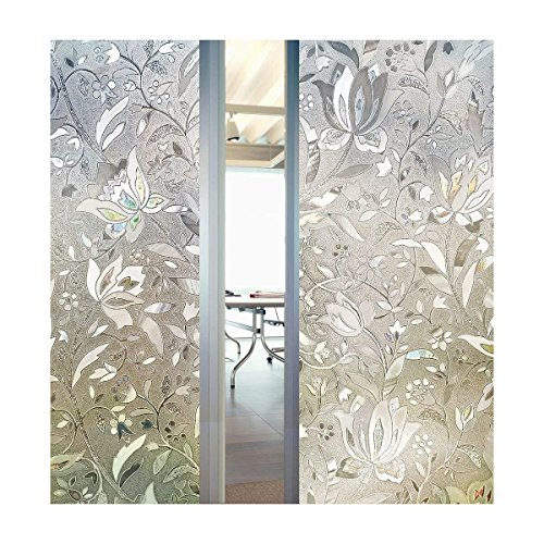 "3D Decorative Tulip Flower Pattern Frosted Privacy Window Film Self adhesive Static Sticker for Bathroom Kitchen Living room (23.6"" x 78.7"")"