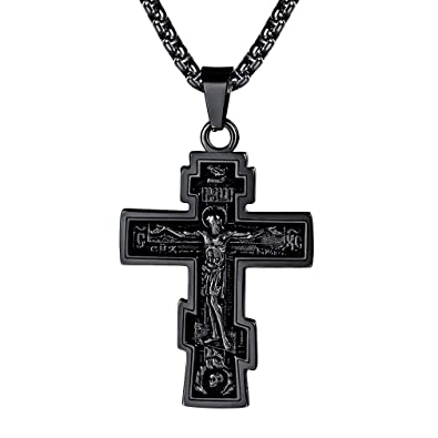 FaithHeart Russian Orthodox Eastern Cross Stainless Steel Crucifix Necklace  for Men Skull Pendant Russian Scripture Psalm 68:1 Pendant Spiritual Gifts