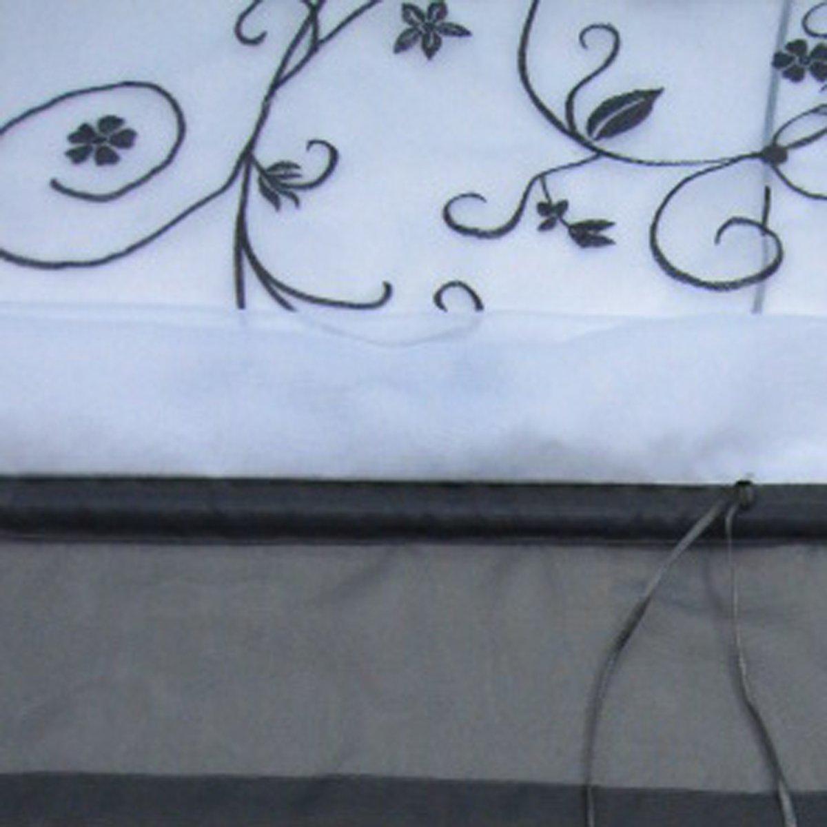 SIMPVALE Rideau de Fen/être Broderie Floral Store Romain D/écoration de la Chambre Salle de Bain Balcon 60/_x/_140/_cm, Gris