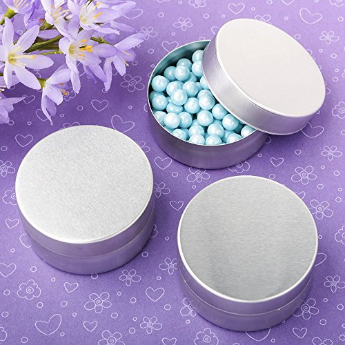 Perfectly Plain Collection Brushed Silver Metal Mint tin with Solid Silver Metal Brushed top 10PK
