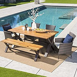 Trellis Outdoor Dining Set | 6 Piece | Acacia Wood | Premium Wicker Dining  Chairs | Perfect Patio Set For Backyard Deck Or Poolside