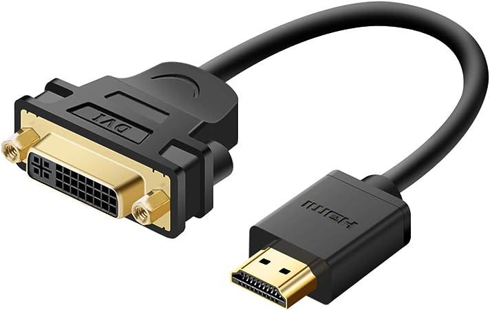 HDMI auf DVI-D Adapter Video-Kabel-HDMI-Stecker auf DVI-Stecker auf HDMI-auf-DVI-Kabel 1080p hochaufl/ösender LCD-und LED-Monitore Kaemma Color:Black