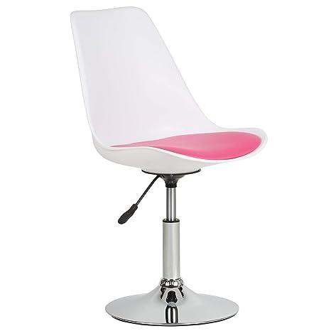 Sedie Da Ufficio Rosa.Hartleys Elegante Sedia Da Ufficio Moderna Base Cromata Seduta Bianca Cuscino Rosa
