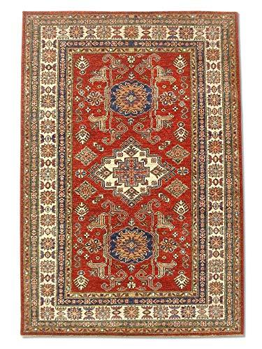 Pak Persian Rugs Traditional Afghan Handmade Kazak Rug, Wool, Red/Maroon, 4