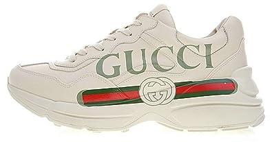 d3b03397639 Gucci Rhyton Vintage Gucci Logo White Red Chaussure de Homme  Amazon ...