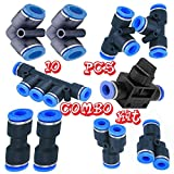 Utah Pneumatic 10mm Od Push to Connect Fittings Pneumatic Fittings Kit 2 Spliters+2 Elbows+2 Tee+2 Straight+1 Manifold+ Hand Valves Ultimate Professional Set 10 Pack Plastic(10mm Combo)