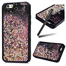 5S Case,iPhone 5 Case,iPhone SE Case,SKYMARS 3D Creative Funny Liquid Quicksand Dynamic Flowing Floating Bling Glitter Sparkle Hard Bottom PC + Flexible Soft TPU Bumper Case for for iPhone 5 / 5S / SE [Black] Pink Star
