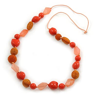Avalaya Orange Wood Bead Cotton Cord Long Necklace - 110cm L fOMScbz