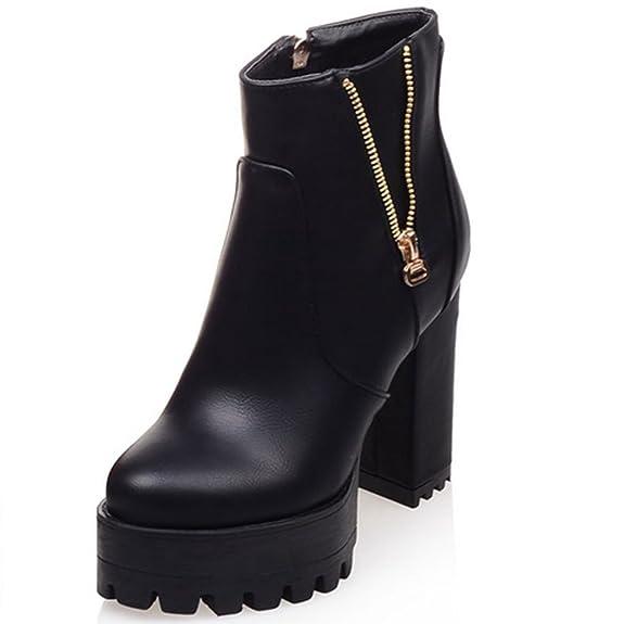 Mature Metal Zipper Platform Women's Chunky Heel Ankle Boots