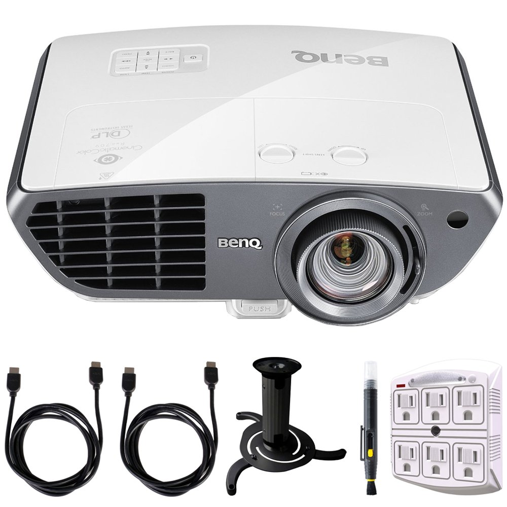 BenQ HT4050 2000 ANSI Lumens Full HD DLP Home Theater Projector w/ Rec. 709 (9H.JEF77.27A) + Accessory Bundle Includes, Ceiling Bracket for Projector (Black), 2x 6ft High Speed HDMI Cables and More