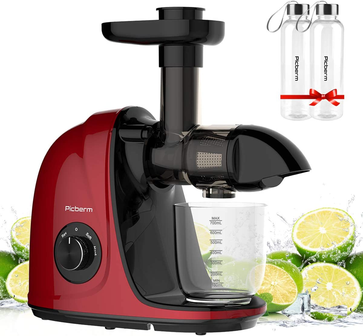 Picberm Masticating Juicer, Slow Juicer Machines Easy to Clean, Quiet Motor, Anti-Clogging, Soft & Hard 2 Speeds Fruits Veggies Juice Extractor, BPA-Free, Red and 2 Pack Bottles 17oz