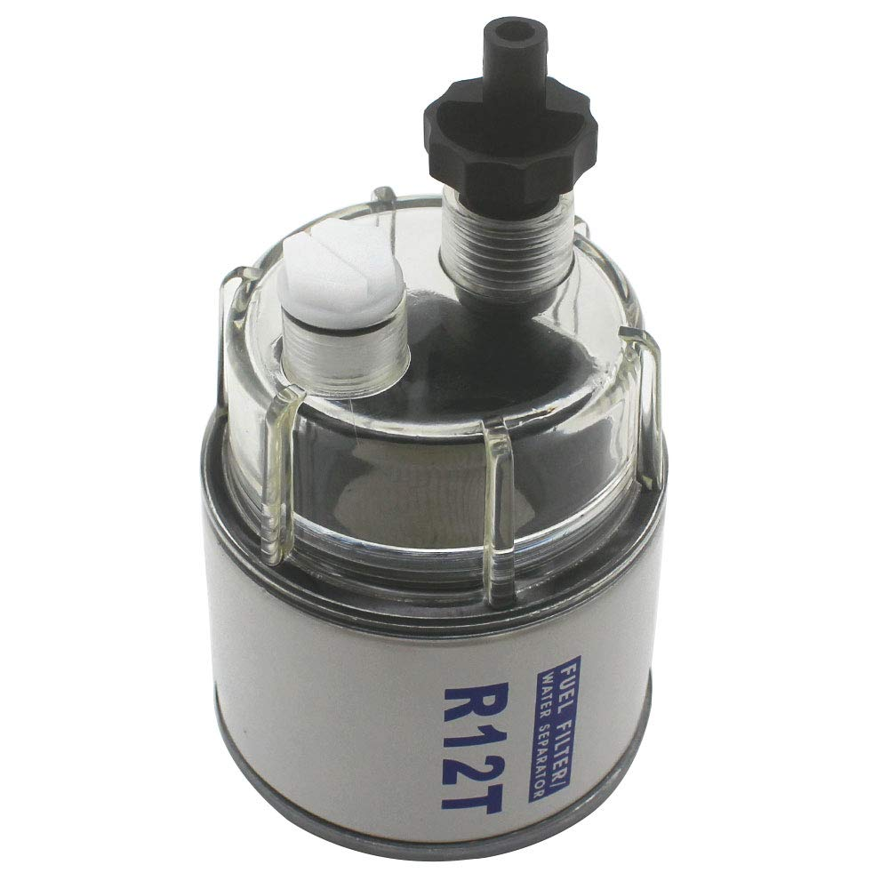 KIPA R12T Fuel Filter Water Separator 120AT NPT ZG1/4-19 and Nylon Collection bowl For Automotive Racor R12T 10 Micron Marine Diesel Engine 3/8 Inch NPT Outboard Motor Generator Spin-on Housing