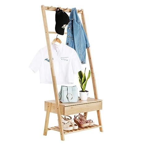LANGRIA Perchero Colgador Burro de Pie en Bambú con 5-Ganchos y 1 Cajón de Almacenamiento para Chaqueta Vestido Largo Paraguas Bolso Uso en Entrada ...