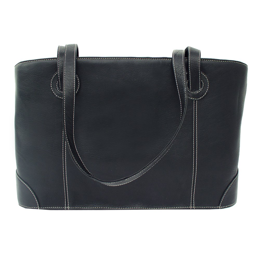 Piel Leather Shopping Tote, Black, One Size