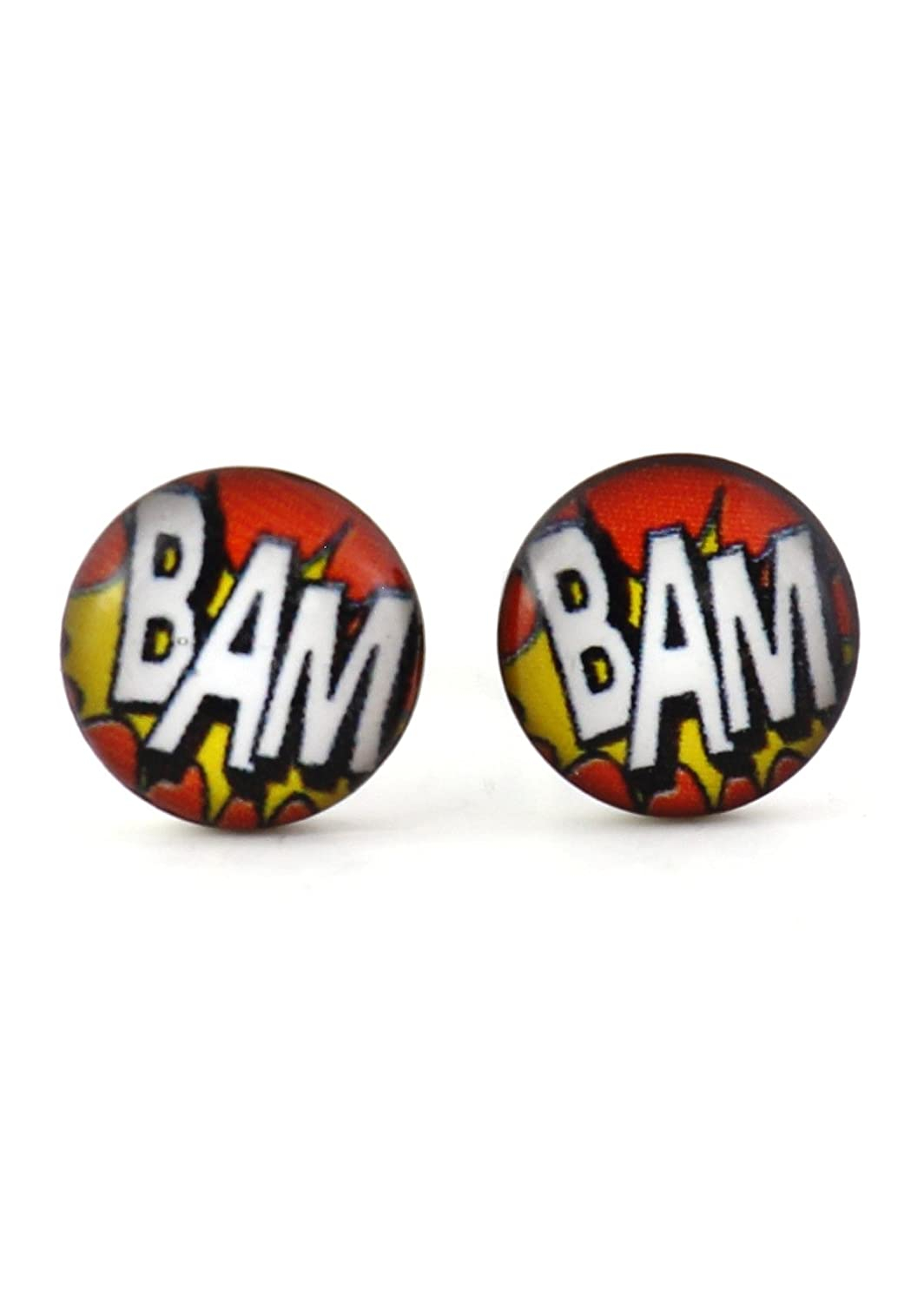 Stud Earrings Silver Tone EL20 Onomatopoeia Pop Art Posts Fashion Jewelry Comic Book BAM