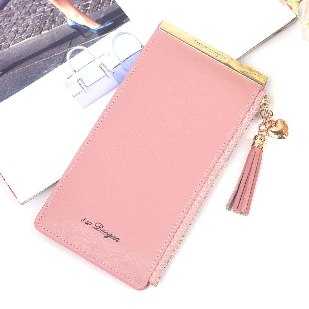 ❤️Sunbona Card Holder Wallet Women Fashion Solid Zipper Tassels Hasp Multi Card Position Wallet Clutch Bag GY