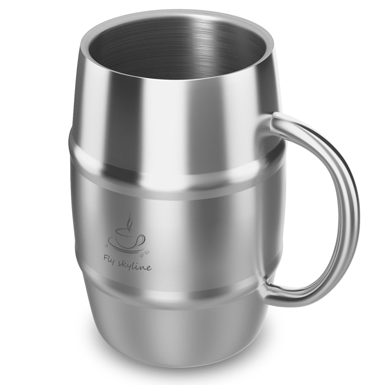 Coffee Mug Double Wall Stainless Steel Insulated Coffee & Beer Barrel Shape Mugs