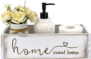 Unistyle Bathroom Decor Box,Rustic White Toilet Paper Holder, Rustic Farmhouse Home DecorBox, Toilet Paper Holder,Toilet Paper Storage Box.