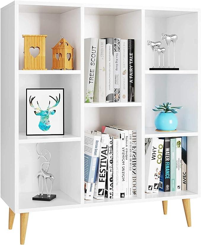 Homfa Librería Estantería Blanca Mueble Auxiliar Madera para Salón Dormitorio Oficina Nórdico con 8 Cubos para Libros 80X29.5X93cm
