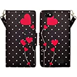 Huawei Raven LTE H892L Case, H892G Raven Wallet case by iViva For Luxury Magnetic ID Folio Credit Card Slots Wallet Case (Polka Dot Heart)