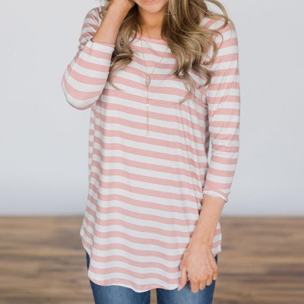 Clearance Deal! Seaintheson 2018 Women New Striped Print Blouse Casual Loose Three Quarter O-Neck T Shirts Tops: Amazon.com: Grocery & Gourmet Food
