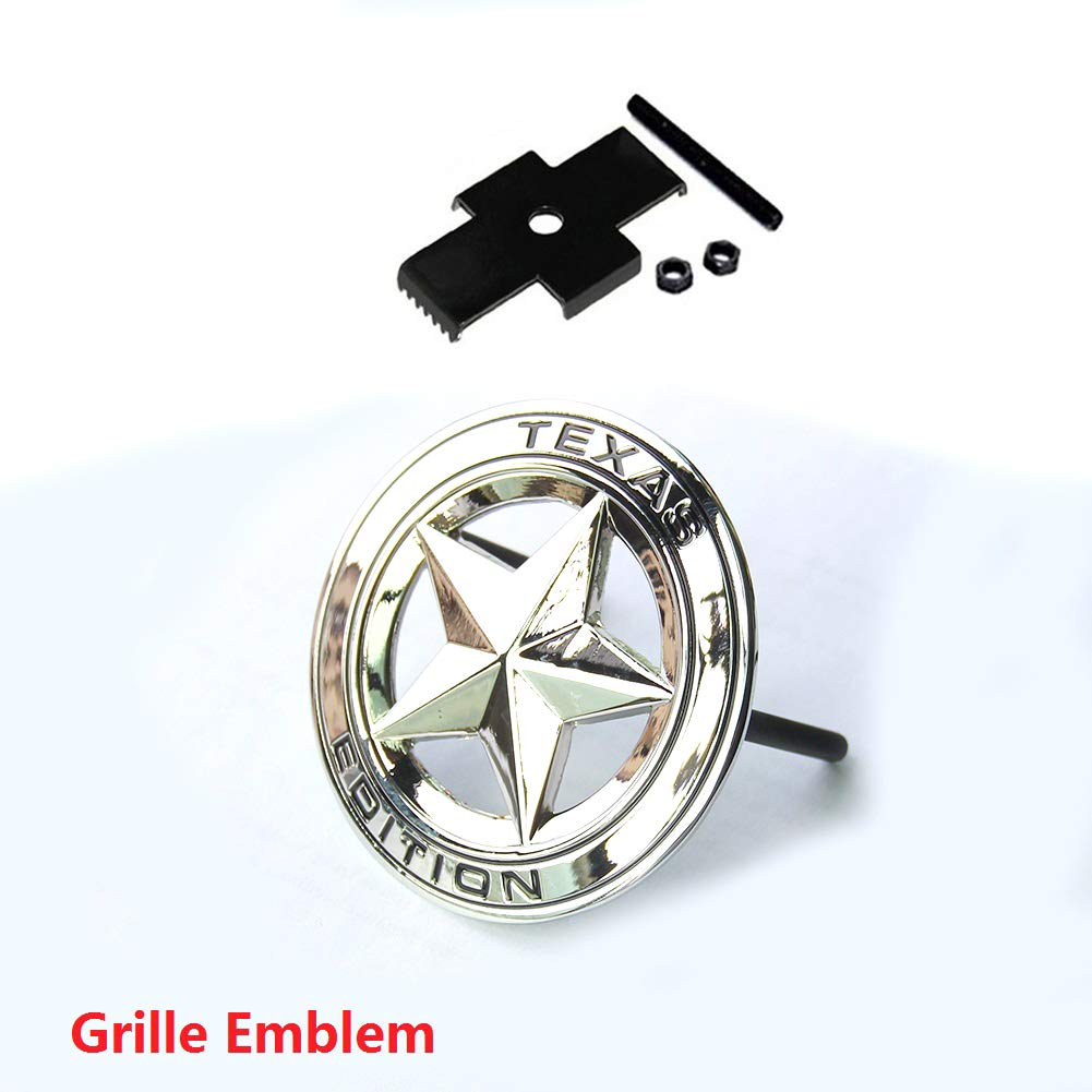 Qukparts 1pc OEM Grille Chrome Texas Edition Emblem Badge Tacoma Tundra Silverado Dodge RAM 1500 2500