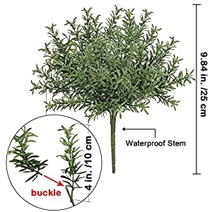 "besttoyhome 4 Pcs Artificial Rosemary Plants Fake Rosemary Greenery Leaves Bushes Evergreen Shrubs Spray in Green - 9.85"" Tall UV Protected Fake Shrubs Grass for Indoor Outdoor Greenery Decor 2"