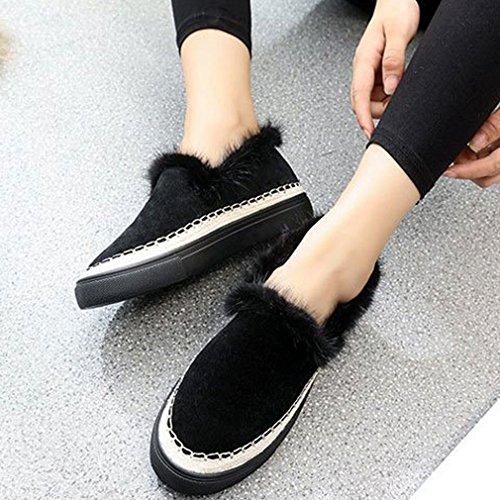 Hoxekle Dames Koreaanse Versie Lage Top Lage Hakken Ronde Neus Platform Rubberen Zool Slip Op Loafer Schoenen Zwart