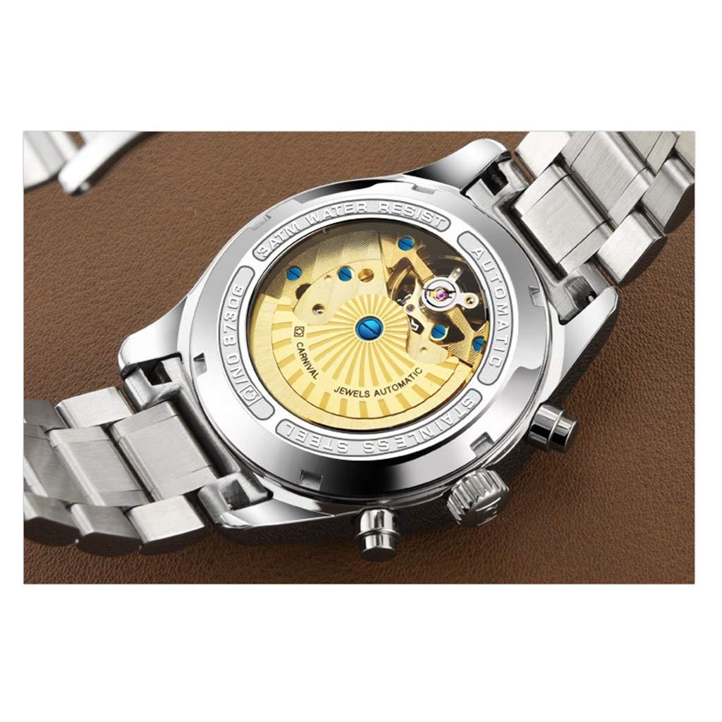 CARNIVAL Herrklocka, mode självlysande vattenresistens armbandsur affärsstil multifunktion automatiska mekaniska klockor 8730G Steel Strap - White