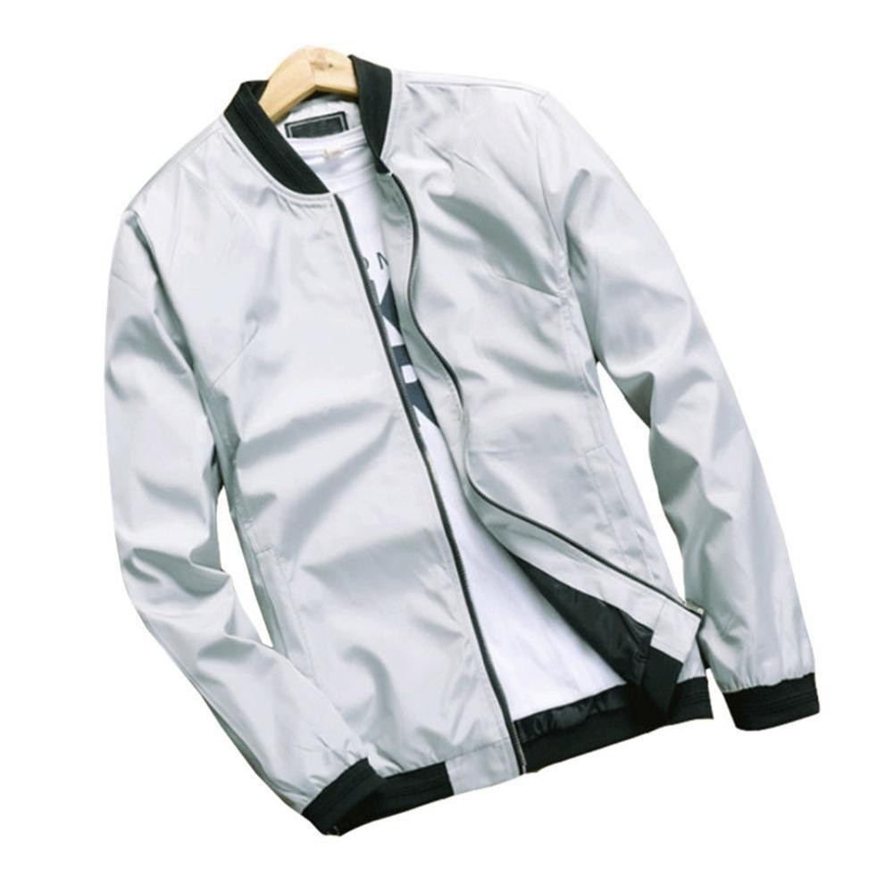 Hzcx Fashion Men's Classic Soild Color Thin Light Weight Flight Bomber Jacket SJXZ1319-16018-36-W-US M(40) Tag XL
