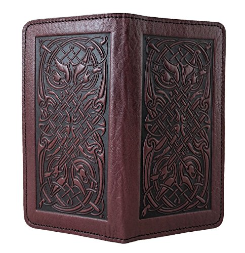 Oberon Design Celtic Hounds Embossed Genuine Leather Checkbook Cover, 3.5x6.5 Inches, Wine, Made in the USA ()