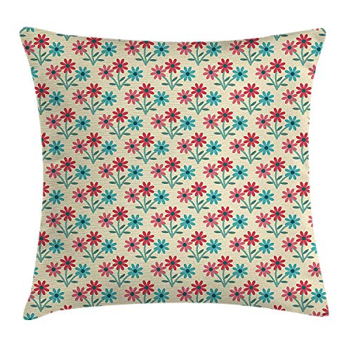 Rustic Home Throw Pillow Cushion Cover, Daisies in Full Blossom Vivacious Composition Bedding Plants Cottage Decor, Decorative Square Accent Pillow Case, 18 X 18 Inches, ()