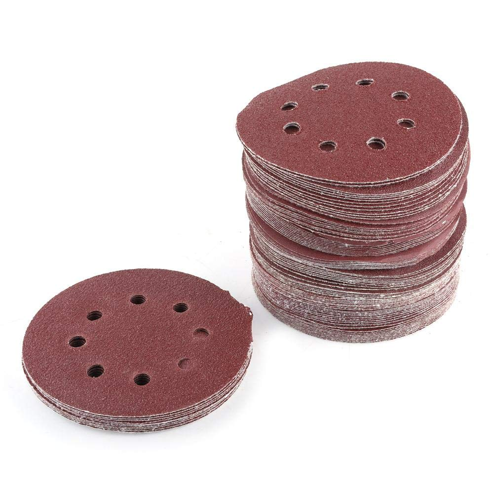 Yosoo 100pcs 8 Hole Hook and Loop Sanding Discs 5 inch, Orbital Sander Sandpaper Assortment 60 80 100 120 240 Grit