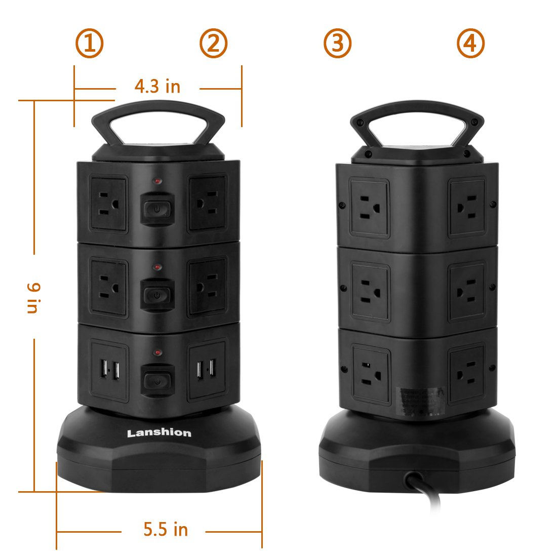 Power Strip Lanshion Tower Surge Protector Power Socket Electric Charging Station 10 Outlet Plugs with 4 USB Slot 9.8ft Retractable Cable Cord Wire Extension Universal Charging Station Office by Lanshion (Image #2)
