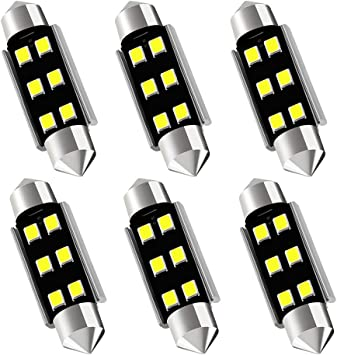 578 211-2 212-2 569 LED Bulbs 41mm 42mm Festoon Interior Light Bulbs 10-SMD 4014 Chipset 6000K Xenon White Super Bright Replacement For Car Interior Map Door Dome License Plate Lights Pack of 6