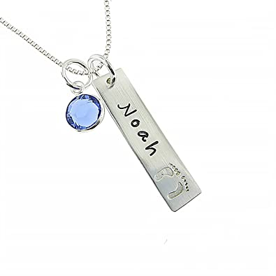 Amazon wisdoy personalized 925 sterling silver name necklace amazon wisdoy personalized 925 sterling silver name necklace with birthstone for new mom custom babykidschild name engraved with solid baby feet aloadofball Gallery