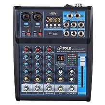 Pyle Professional Audio Mixer Sound Board Console System Interface 4 Channel Digital USB Bluetooth MP3 Computer Input 48V Phantom Power Stereo DJ Studio Streaming FX 16-Bit DSP processor - (PMXU43BT)